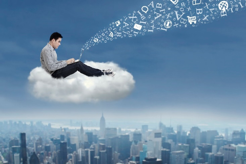 Businessman using Azure to work in the cloud